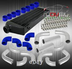 12P 2.5 Diy Turbo Piping Kit T-Bolt Clamps Couplers With 2.5 Black Intercooler
