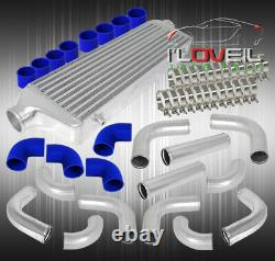 12Pc Turbo Piping Kit + Bar And Plate Intercooler Set Blue Coupler+T-Bolt Clamps