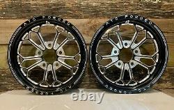 15 Front Drag Racing Wheels ALTA GRADU Black Contrast Cut Finish Set of 2