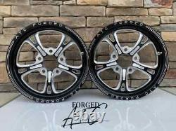 15 Front Drag Racing Wheels PRIMA Black Contrast Cut Finish Set of 2