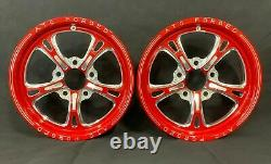 15 Front Drag Racing Wheels PRIMA Red Contrast Cut Finish Set of 2