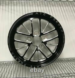 15 Front Drag Racing Wheels TRAGUARDO Black Contrast Cut Finish Set of 2