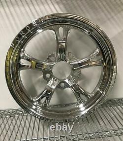 17 Front Drag Racing Wheels PRIMA Chrome Finish Set of 2