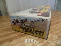 1970 Hot Wheels Redline Mongoose &snake Wild Wheelie Track Rail Drag Race Set 70