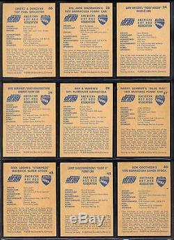 1971 Fleer Ahra Official Drag Champs Canadian Partial Card Near Set Lot Of 55/63