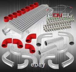 2.5 12Pcs Polish Bar And Plate Series Intercooler + Turbo Piping Diy Kit Red
