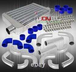 26 X 3 X 11 Turbo Intercooler Fmic + 12Pc Polish Piping Kit Blue Couplers