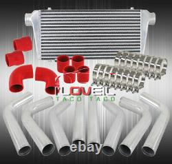 28 Fmic Bar And Plated Intercooler + 8 Pc 90 120 150 Degree Pipe Piping Kit Set