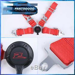 2X Black Fiberglass Cloth Racing Bucket Seats + 4 Point Camlock Red Seatbelt Set