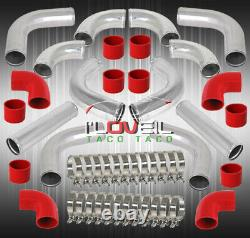3 Diy Aluminum 12Piece Turbo Intercooler Piping Pipe Kit Polished Red Coupler