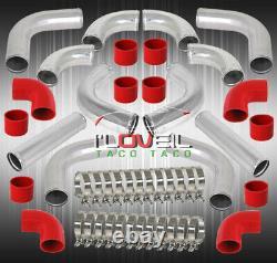 3 Diy Polished T-6061 12Pc Aluminum Fmic Intercooler Piping Pipe Kit + Coupler