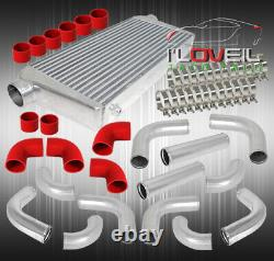 3 In/Outlet Intercooler + 12Pc Aluminum Pipe Piping Kit + Red Coupler +Clamps