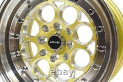 4 15x8 Vms Racing Revolver Gold Polished Drag Wheels 4x100/4x114 Et20 Set