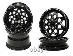 4x Black Drag Racing Wheels Rocket Front & Rear Set 15x8 &15x3.5 4X100 4X114