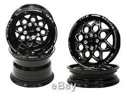 4x Black Drag Racing Wheels Rocket Front & Rear Set 3X9 & 15x3.5 4X100/4X114