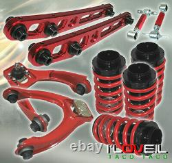 96-00 Civic Lx Ex Si Ek Red Front Upper & Rear Camber Suspension Control Arm Set