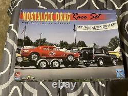 AMT/ERTL Model King Nostalgic Drag Race Set Bronco Cougar Trailer 1/25
