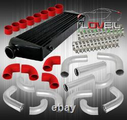 Black Front Mount Intercooler + 12Pc 64mm Aluminum Pipe Piping Kit + Coupler Red