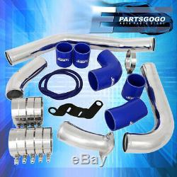 For 08-15 Mitsubishi Evo Intercooler Piping Kit Set Blue Couplers Performance