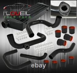 For 93-97 Del Sol Turbo Intercooler + Piping Kit With BOV Flange+ Black Couplers