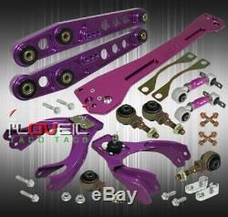 For 94-01 Integra Control Arm Set+ Subframe Brace + F/R Camber Adjustable Purple