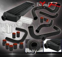 For 94-01 Integra Turbo Upgrade Piping Kit + SQV Flange Black Turbo Intercooler