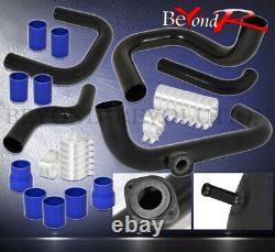 For 96-00 Civic D16 B16 Black Turbo Intercooler Piping Kit Flange + Blue Coupler