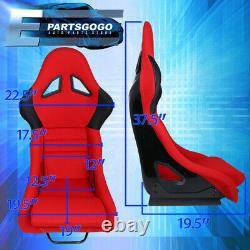 For JDM Red/ Black Trim Cloth Firm Hold Racing Bucket Seats With Sliders Set X2