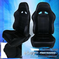 For Nissan Full Reclinable Left + Right Black Pvc Leather Bucket Racing Seat Set