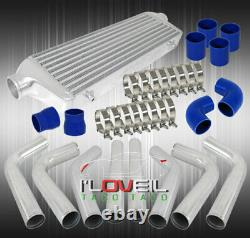 Front Mount Bar Plate Intercooler + Blue Couplers + Straight Elbow Piping Combo