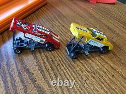 Hot Wheels Redline Snake Mongoose Drag Race Set Original with cars
