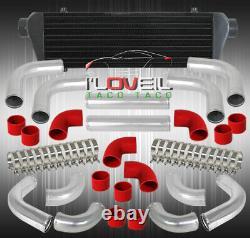 Jdm 28 X 7 Fmic Black Intercooler + 12Pcs Aluminum Piping Kit + Couplers Red