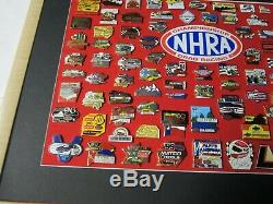 NHRA 1986-2001 National Events Championship Drag Racing Custom Framed Pin Set