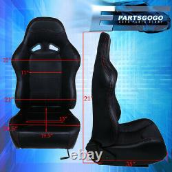 Pvc Red Stitching Black Reclining Racing Seats Pair Set For Nissan 240Sx Skyline