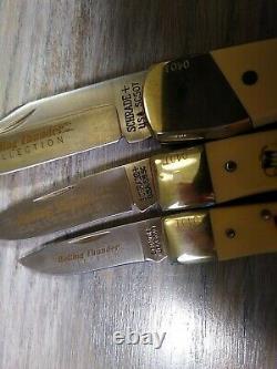Rare Vintage Schrade USA Rolling Thunder Drag Racing Scrimshaw Knife Set Knives