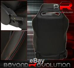 Reclinable Bucket Seats Chairs Heavy Duty Back Rest Sport + Rail Black Pair Set
