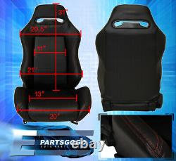 Reclinable Bucket Seats Chairs Vip Luxury Interior + Slider Set Rail Black Pair