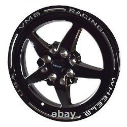 VMS Black V Star 5 Spoke Drag Pack Racing Wheels Rims 15X3.5 & 15x8 4X100 4X108