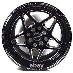 VMS Delta 15X8 Black Polished Drag Racing Rims Wheels 5X100 5X114.3 ET20 x4