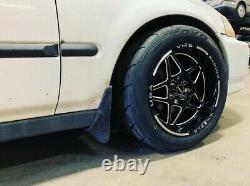 VMS Delta Black Milling Drag Pack 15X8 & 15x3.5 Racing Rims Wheels 4X100 4X114.3