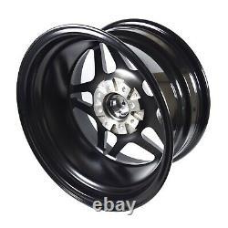 VMS Delta Black Milling Drag Pack 15X8 & 15x3.5 Racing Rims Wheels 5X100 5X114.3