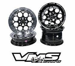 VMS RACING BLACK POLISHED FRONT & REAR DRAG WHEELS SET 4X100/4X114 13x8