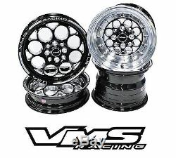 VMS RACING BLACK POLISHED FRONT & REAR DRAG WHEELS SET 4X100/4X114 15x8