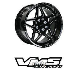 VMS RACING DELTA BLACK SILVER FRONT & REAR DRAG WHEELS SET 4X100/114 15x8