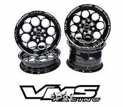 VMS RACING MODULO BLACK SILVER FRONT & REAR DRAG WHEELS SET 4X100/4X114 15x8