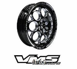 VMS RACING MODULO BLACK SILVER FRONT & REAR DRAG WHEELS SET 5X100/5X114 13x8