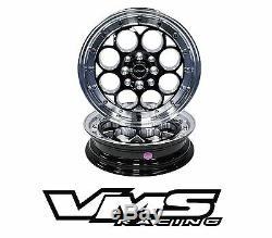 VMS RACING REVOLVER BLACK SILVER FRONT & REAR DRAG WHEELS SET 4X100/4X114 13x9