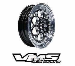 VMS RACING REVOLVER BLACK SILVER FRONT & REAR DRAG WHEELS SET 4X100/4X114 15x8