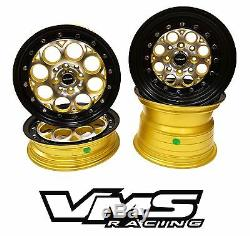 VMS RACING REVOLVER GOLD BLACK FRONT & REAR DRAG WHEELS SET 4X100/4X114 13x8