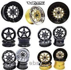 VMS Racing Black Modulo Milling Finish Drag Wheel Rim 15x8 4X100/114.3 ET20 -x4